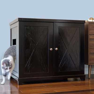 Deluxe Cat Litterbox Cabinet - Farmhouse Style
