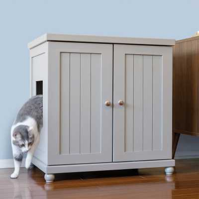 Deluxe Cat Litterbox Cabinet - Cottage Style