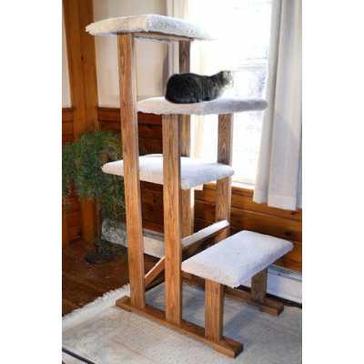 Solid Wood Quad Perch Cat Tree