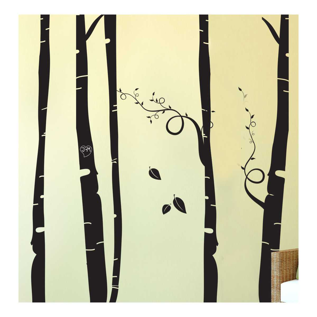 Cat Themed Wall Accent Decal - Birch Tree Forest - CatsPlay Superstore