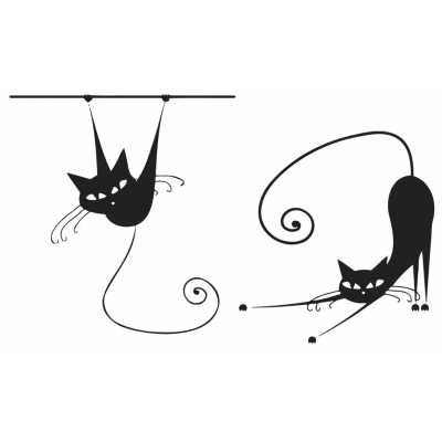 Cat Themed Wall Accent Decal - Whimsical Pair of Cats
