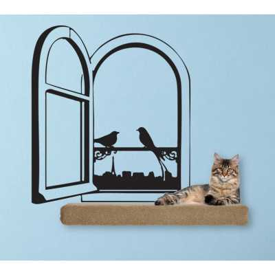 Cat Themed Wall Accent Decal - Paris Window with Birds