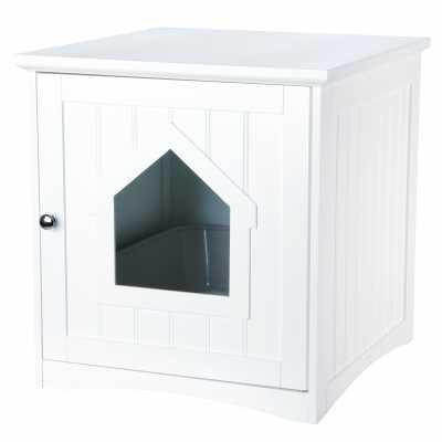 Wooden Cat Toilet Litterbox Cabinet - White
