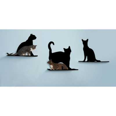 Cat Silhouette Cat Shelf - Set of 3