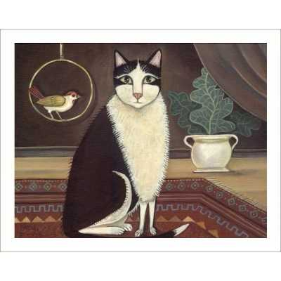 Tuxedo Cat and Bird Friend Art Print