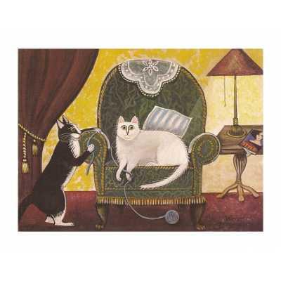 Frolicking Parlor Cats Art Print