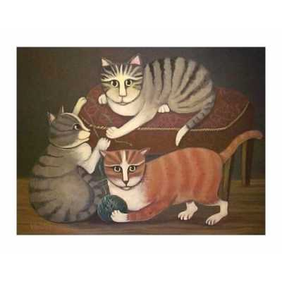 Cats and Yarn Playful Cats Art Print
