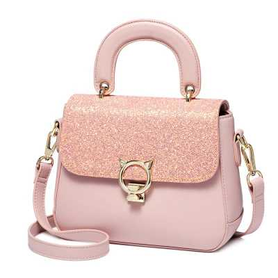 Pink PU Leather Ladie's Crossbody or Shoulder Handbag with Bold Cat Head Hardware