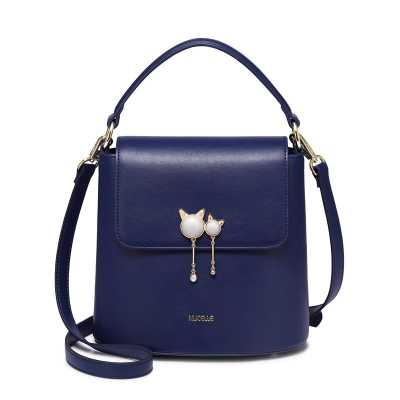 Ladie's Bucket Shoulder Bag in PU Leather with Cat Accents