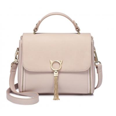 Pink PU Leather Ladies Crossbody or Shoulder Handbag with Elegant Cat Head Hardware