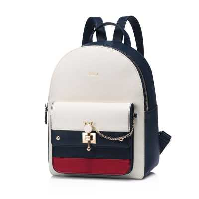 Classic Cream and Navy PU Leather Backpack with Cat Themed Gold Hardware