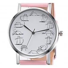 Cats Around the Clock Alloy Quartz Wrist Watch Wristwatch