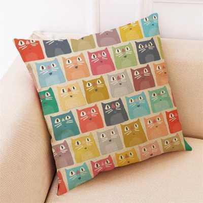 Decorative Cat Themed Cushion Cover - Many Cats