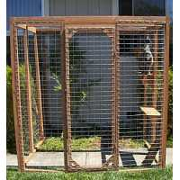 Outdoor Redwood Cat Enclosure - Standard Wire