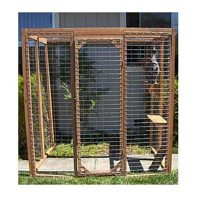Outdoor Redwood Cat Enclosure - Standard Wire