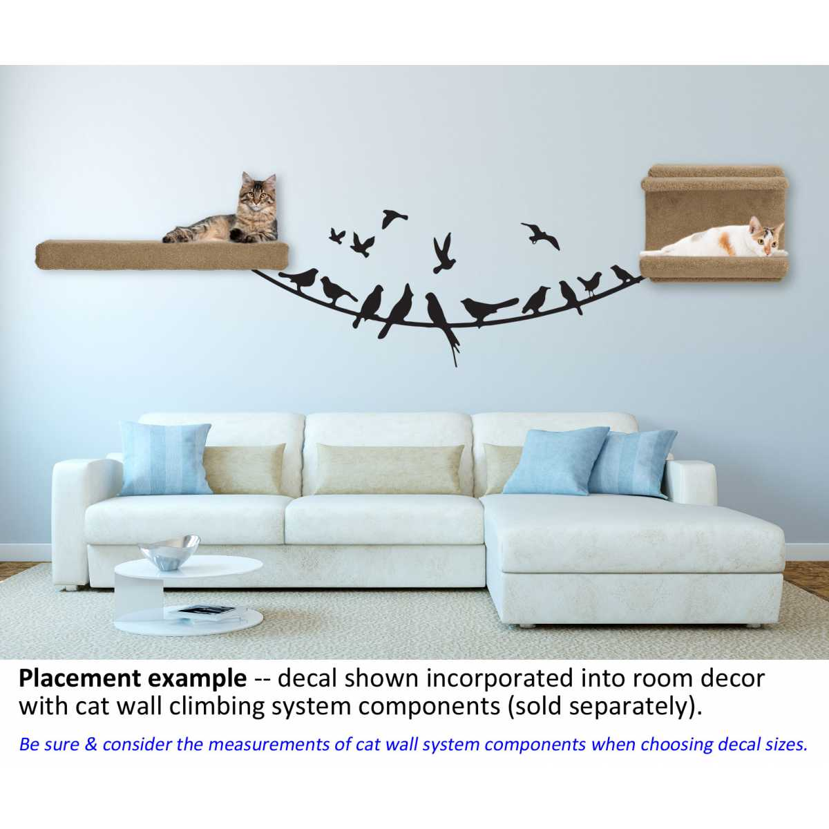 Cat Themed Wall Accent Decal - Birds on a Wire - CatsPlay Superstore