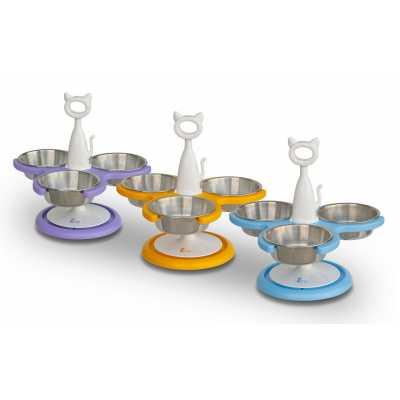 Multi-Cat Raised Feeder - 3 bowl