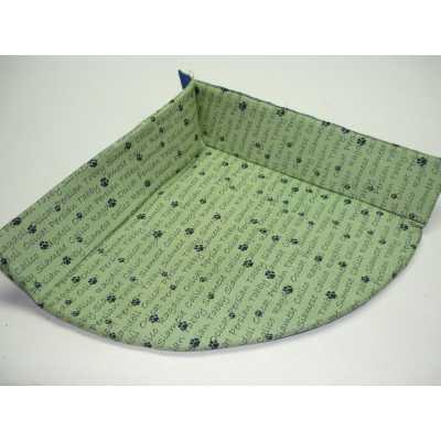 Cuddle Cat Corner Mat- Cat Bed with Catnip - Green Cat Breeds Pattern