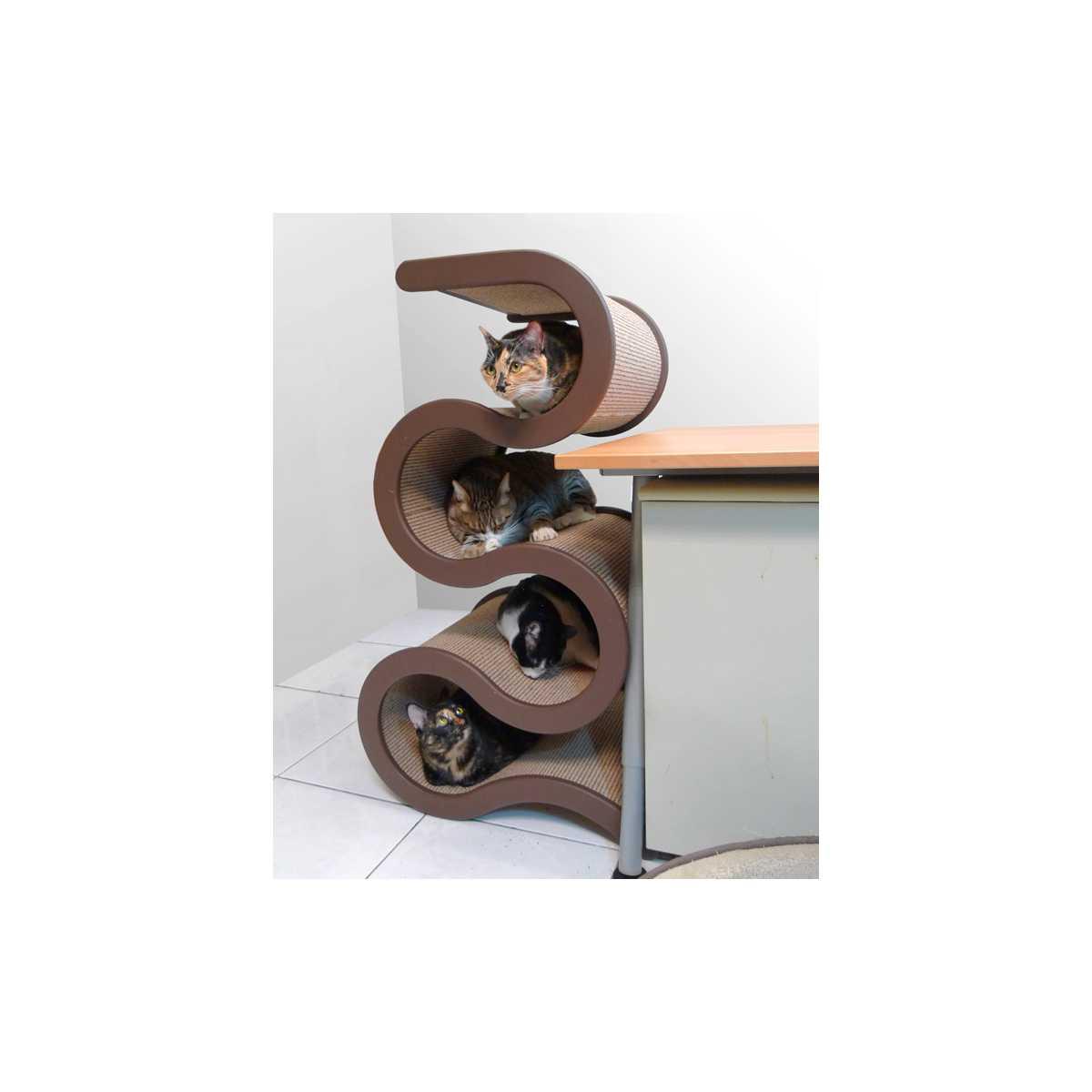Modern Curving Cat Tree 4 Tiers