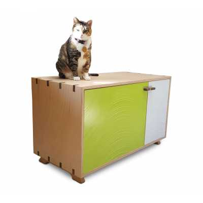Artisan Made Cat Litter Box with Inlaid Wave Pattern