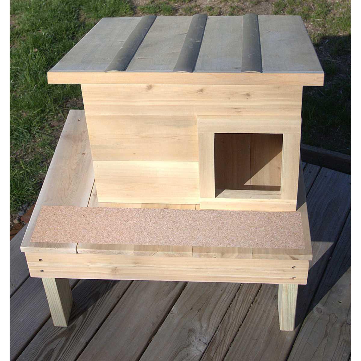 Double Deck Outdoor Cedar Wood Cat House Shelter