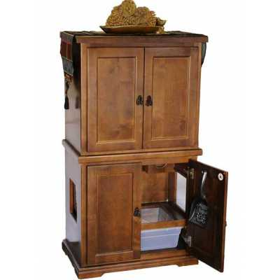 Style F1E 2 Door Cat Litter Furniture with Storage Image