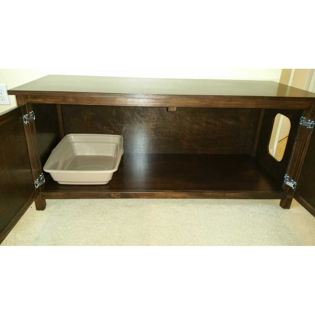 ... Long And Low Cat Litter Box Cabinet With Odor Absorbing Light ...