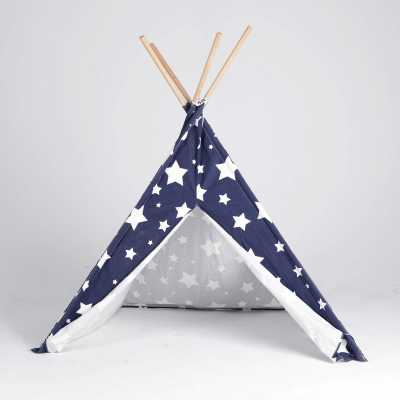 Cat TeePee - Blue with White Stars Image