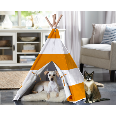Cat TeePee - Orange Stripe