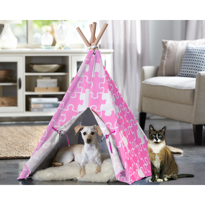 Cat TeePee - Pink Puzzle Image
