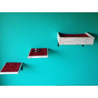 Artisan Made - (2) Floating Cat Wall Shelves + (1) Floating Cat Wall Bed Image