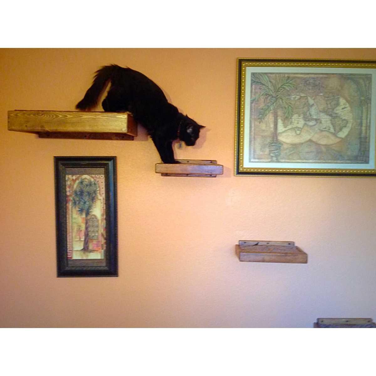Artisan Made - (4) Floating Cat Wall Shelves + (1 ...