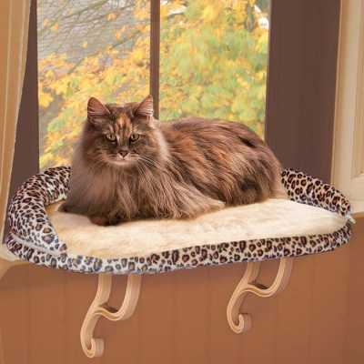K&H Deluxe Kitty Sill Perch with Leopard Bolster KH9097 Image