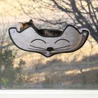 K&H Pet Products EZ Mount Kittyface Window Cat Bed Gray