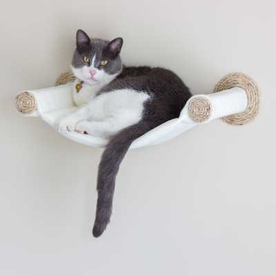 Cat Hammock - Wall Mounted Cat Bed - Cream Image