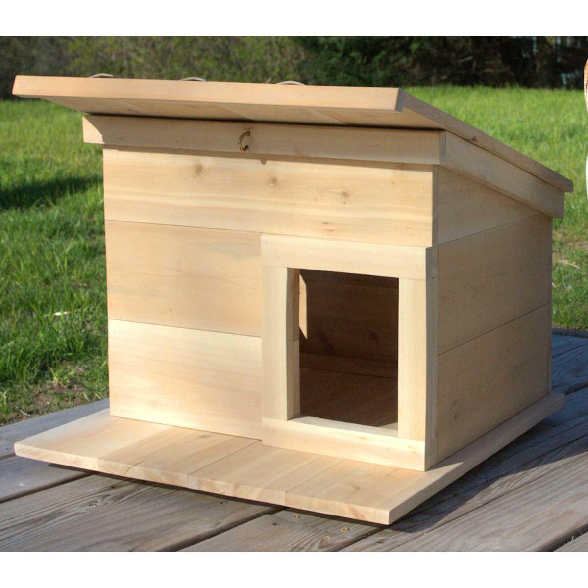 Outdoor Cedar Wood Cat House Shelter Catsplay Superstore