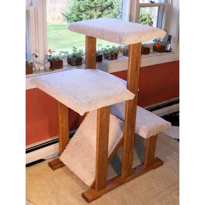 Solid Wood Triple Perch Cat Tree Image
