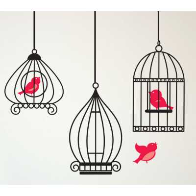 Cat Themed Wall Accent Decal - Birdcage and Birds