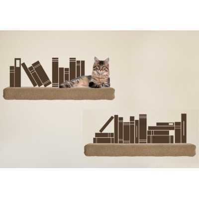 Cat Themed Wall Accent Decal - Books
