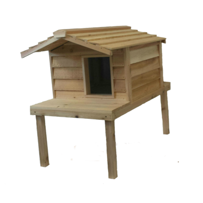 Large Cedar Insulated Cat or Small Dog House with Deck and Extended Roof