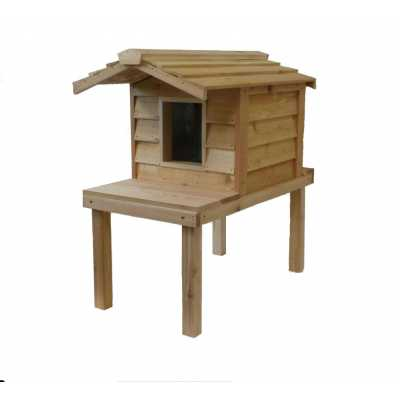 Small Cedar Insulated Cat or Small Dog House with Deck and Extended Roof