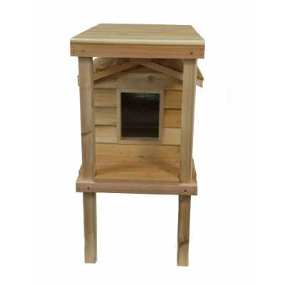 Small Cedar Insulated Cat or Small Dog House with Platform and Loft