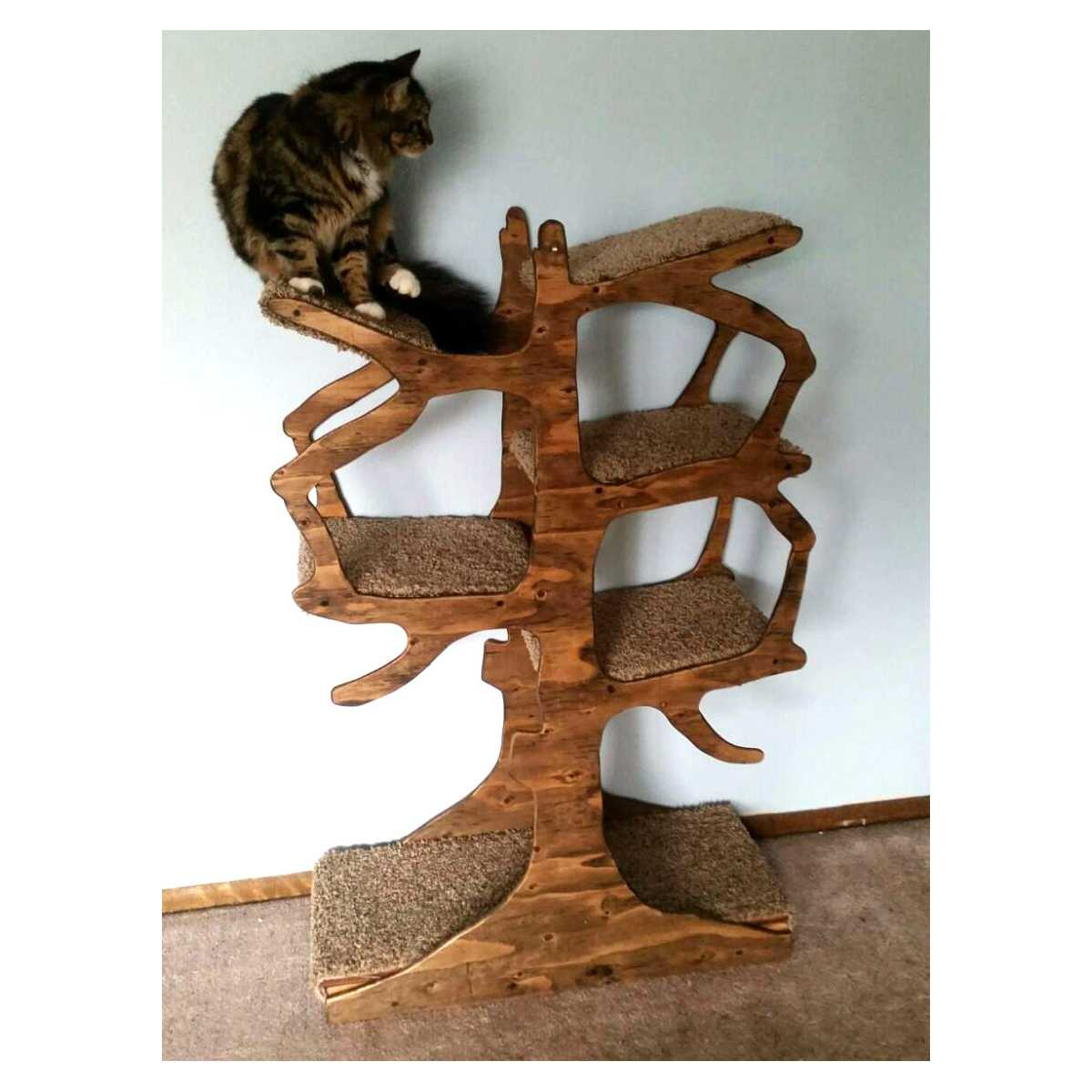 Unique Handmade Wooden Cat Tree With Carpeted Branches Black or Natural