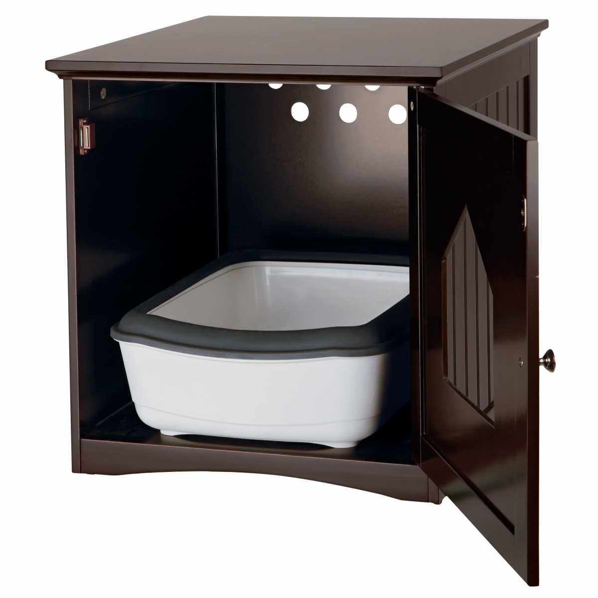Wooden Cat Toilet Litterbox Cabinet Brown Catsplay