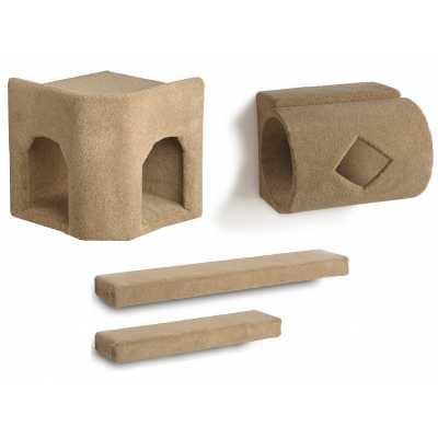 Kitty Corner Hideaway + Tube + 2 Ramps Cat Wall Climbing Package